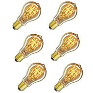 baratos Incandescente-6pcs 60W E26 / E27 A60(A19) Branco Quente 2200-2700k Retro Regulável Decorativa Incandescente Vintage Edison Light Bulb 220-240V