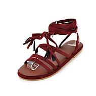 baratos Sapatos Femininos-Mulheres Sapatos Seda Verão Inovador / Tira no Tornozelo Sandálias Sem Salto Dedo Aberto Flor de Cetim Preto / Cinzento / Vinho