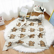 cheap Blankets & Throws-Knitted, Reactive Print Cartoon Cotton Blankets