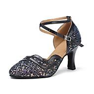 Žene Moderna obuća Svjetlucave šljokice / Umjetna koža Sandale / Štikle Potpetica po mjeri Moguće personalizirati Plesne cipele Crn