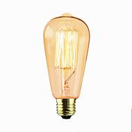 billige Glødelampe-1pc 60 W E26 / E27 ST64 2300 k Glødende Vintage Edison lyspære 110-220 V / 220 V / 220-240 V
