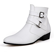 baratos Sapatos Masculinos-Homens Coturnos Couro Ecológico Outono / Inverno Conforto Botas Caminhada Vestível Branco / Preto
