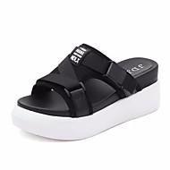 cheap Women's Slippers & Flip-Flops-Women's Shoes Fabric Summer Comfort Slippers & Flip-Flops Flat Heel Round Toe for Casual White Black Red