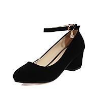 abordables Talons pour Femme-Femme Chaussures Similicuir Printemps / Eté Escarpin Basique Chaussures à Talons Talon Bottier Bout rond Boucle Noir / Rouge