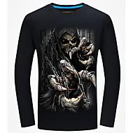 Homens Camiseta Activo Básico, Caveiras Decote Redondo Delgado