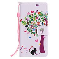 billiga Mobil cases & Skärmskydd-fodral Till Sony Xperia XZ1 Compact Xperia XZ1 Korthållare Plånbok med stativ Lucka Mönster Fodral Katt Träd Hårt PU läder för Xperia XZ1