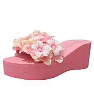 cheap Women's Slippers & Flip-Flops-Women's Shoes PU Spring Comfort Slippers & Flip-Flops Wedge Heel Round Toe Satin Flower for Casual White Black Blue Pink