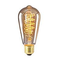 billige Glødelampe-1pc 40W E26/E27 ST64 Varm hvit 2200-2700 K Kontor / Bedrift Mulighet for demping Dekorativ Glødende Vintage Edison lyspære 220V-240V