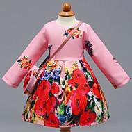 女の子の 日常 学校 フラワー カラーブロック コットン ドレス 春 夏 長袖 キュート カジュアル ピンク