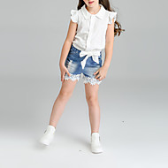 Kids Girls' Solid Colored Short Sleeve Cotton Clothing Set White