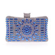 baratos Clutches & Bolsas de Noite-Mulheres Bolsas Poliéster Bolsa de Festa Detalhes em Cristal Champanhe / Prateado / Azul Real