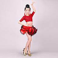 billiga Danskläder och dansskor-Latinamerikansk dans Outfits Flickor Prestanda Polyester Spets Vågliknande Halvlång ärm Dropped Kjolar Topp