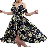 Kinder Mädchen Süß Alltag / Strand Blumen Druck Ärmellos Polyester Kleid Marineblau