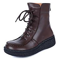 お買い得  女性用靴-女性用 靴 ナパ革 / レザー 秋 / 冬 コンバットブーツ ブーツ ウエッジヒール ミドルブーツ コーヒー