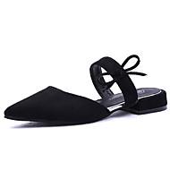 お買い得  レディースフラットシューズ-女性用 靴 スエード 春 コンフォートシューズ フラット フラットヒール ポインテッドトゥ リボン ブラック / グレー / Brown