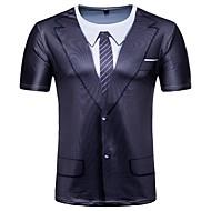 Herre - Geometrisk Trykt mønster Basale T-shirt