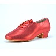 baratos Sapatilhas de Dança-Homens Sapatos de Dança Latina Glitter Salto Presilha Salto Baixo Personalizável Sapatos de Dança Dourado / Prata / Vermelho / Couro