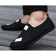 baratos Sapatos Masculinos-Homens Solas Claras Linho Primavera / Outono Conforto Mocassins e Slip-Ons Preto / Bege