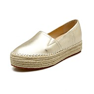 Mujer Zapatos Microfibra Verano Mocasín Zapatos de taco bajo y Slip-On Media plataforma Dedo redondo Perla de Imitación Blanco ibMvA8