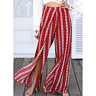 Mulheres Cintura Alta Solto Perna larga Calças - Listrado Estampa Colorida