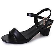 abordables Zapatos y Bolsos-Mujer Zapatos PU Primavera Confort Sandalias Tacón Bajo Dedo redondo Blanco / Negro
