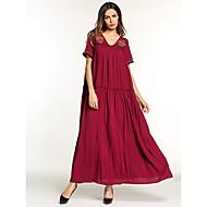 女性用 ベーシック ボヘミアン シース スウィング ドレス - 刺繍, ソリッド マキシ