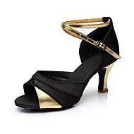 baratos Sapatilhas de Dança-Mulheres Sapatos de Dança Latina Cetim / Courino Sandália / Salto Recortes Salto Personalizado Personalizável Sapatos de Dança Dourado