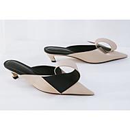 baratos Sapatos Femininos-Mulheres Sapatos Pele Primavera / Verão Conforto Tamancos e Mules Salto Agulha Preto / Amêndoa