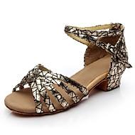 للمرأة أحذية رقص بريّق صندل بريق مميز كعب مخصص مخصص أحذية الرقص أسود / فضي / أحمر / داخلي / جلد