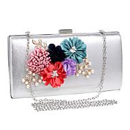 billige Designer Evening Bags-Dame Poser polyester Aftenveske Blomst Svart / Sølv / Rød