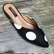 baratos Sapatos Femininos-Mulheres Sapatos Couro Ecológico Primavera / Outono Conforto Tamancos e Mules Sem Salto Preto / Amêndoa