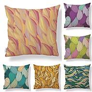 billige Putevar-6 stk Tekstil Bomull / Lin Putevar Putecover, Trær / Blader Geometrisk mønster Printer Kunstnerisk Stil Tropisk