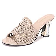 cheap -Women's Shoes Sparkling Glitter / Tulle Summer / Fall Gladiator / Basic Pump Slippers & Flip-Flops Chunky Heel Gold / Black