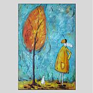 billiga Blom-/växtmålningar-Hang målad oljemålning HANDMÅLAD - Människor Blommig / Botanisk Moderna Duk