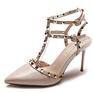 cheap Women's Heels-Women's Shoes PU Spring Summer Comfort Heels Stiletto Heel Rivet for Beige Yellow Red