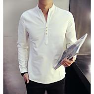 رجالي قميص النمط الصيني لون سادة أزرق XXL / كم طويل