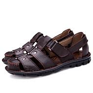baratos Sapatos Masculinos-Homens Sapatas de novidade Pele Napa Primavera / Verão Sandálias Preto / Marron