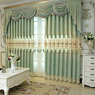 cheap Curtains Drapes-Curtains Drapes Living Room Floral Geometric Cotton / Polyester Jacquard