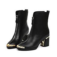 baratos Sapatos Femininos-Mulheres Sapatos Pele Napa / Pele Outono / Inverno Conforto / Botas da Moda Botas Salto Robusto Botas Cano Médio Preto