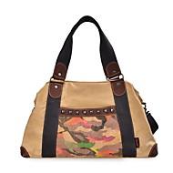 billige Rejsetasker-Lærred Geometrisk Rejsetaske Perlearbejde / Nitte / Mønster / tryk for udendørs Forår sommer Brun / Brun Sort