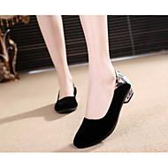 זול מוקסינים לנשים-בגדי ריקוד נשים נעליים PU אביב / סתיו נוחות נעליים ללא שרוכים שטוח שחור / פוקסיה / כחול