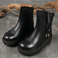 cheap Women's Shoes-Women's Shoes Cowhide Fall Winter Combat Boots Boots Wedge Heel Round Toe Mid-Calf Boots for Casual Black Coffee