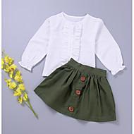 סט של בגדים כותנה שרוול ארוך אחיד בנות פעוטות