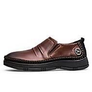tanie Obuwie męskie-Męskie Komfortowe buty Skórzany Wiosna / Jesień Mokasyny i pantofle Light Brown / Dark Brown