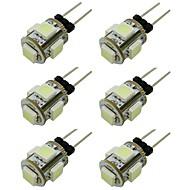 levne LED žárovky-WeiXuan 6ks 1W 80lm G4 LED Bi-pin světla T 5 LED korálky SMD 5050 Teplá bílá Chladná bílá Zelená Žlutá Modrá Červená 12V