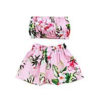 billige Badetøj-Pige Sødt Aktiv Blomstret Badetøj, Bomuld Akryl Uden ærmer Lyserød