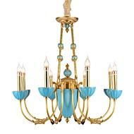 billige Takbelysning og vifter-ZHISHU 8-Light Candle-stil Lysekroner Opplys Messing Metall Krystall, Mini Stil 110-120V / 220-240V Pære Inkludert