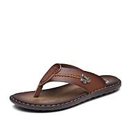 tanie Obuwie męskie-Męskie Buty Nappa Leather Lato Jesień Comfort Sandały Koraliki na Casual Na wolnym powietrzu Niebieski Dark Brown Khaki