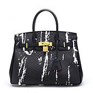 baratos Bolsas Tote-Mulheres Bolsas PU Leather Tote Com Relevo Branco / Preto