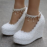 baratos Sapatos Femininos-Mulheres Sapatos Renda / Couro Ecológico Primavera / Outono Conforto Saltos Salto Plataforma Branco / Rosa claro